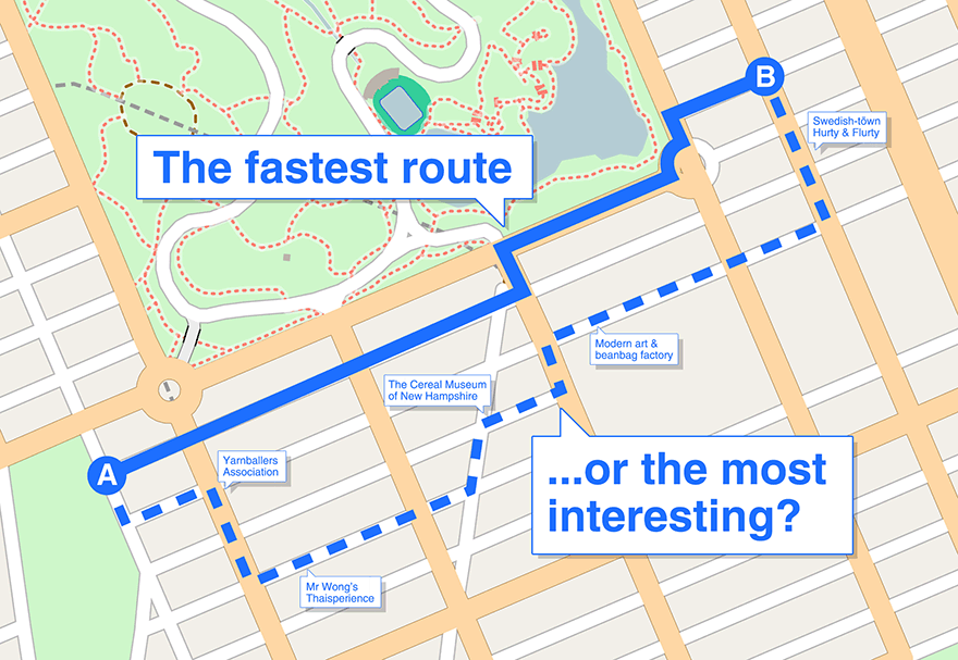 Map, fastest route or most interesting